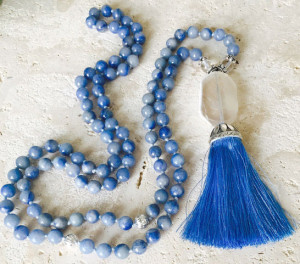 blue aventurine mala necklace