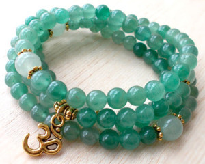 green aventurine mala bead necklace