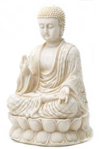 Antique White Polystone Protection Buddha Statue