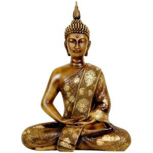 Golden Tibetan Meditating Buddha Statue